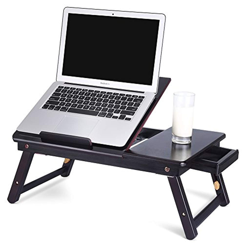 Portable Bamboo Foldable Laptop Desk Notebook Adjustable Height Tray Table Bed Table with Drawer, Black