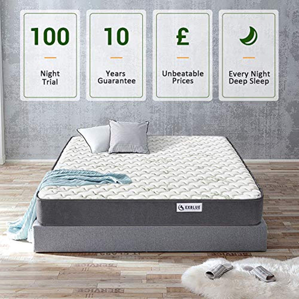 Single Bamboo Fiber Mattress, 3FT Single Pocket Sprung and Memory Foam Mattress Pressure Relief with 9-Zone Support System - 100 Nights Trial