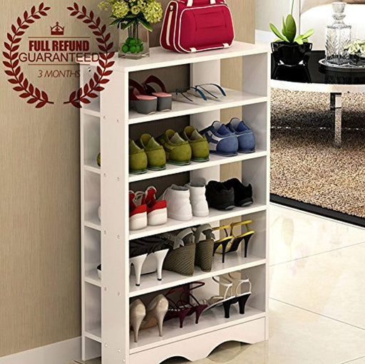 Ej. Life 5-Tier Wood Storage Shoe Rack Stand Free Standing Shoe Organiser Shelf, White
