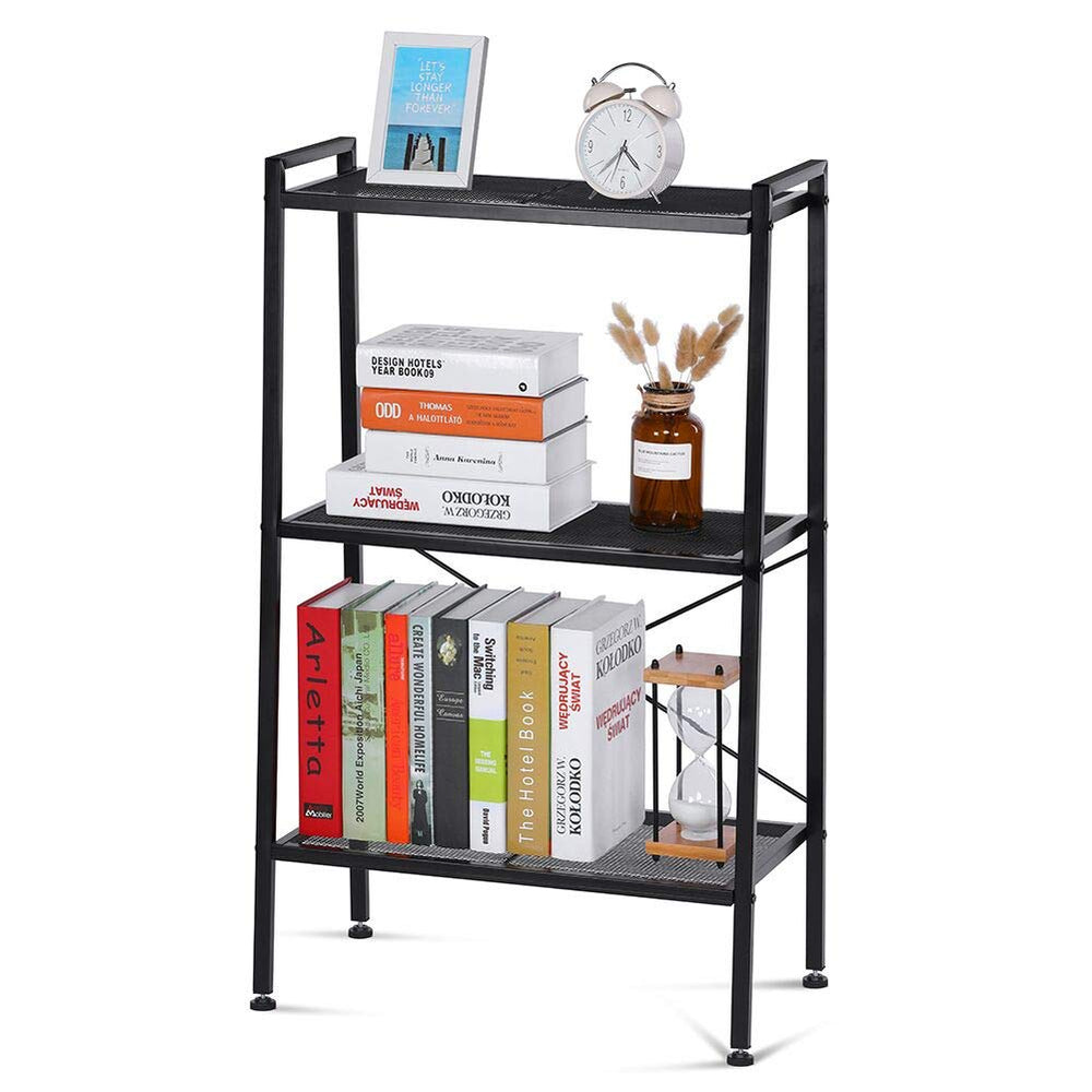 NAFURNO Ladder Shelf Unit 4-Tier Storage Shelves Stand Bookcase Shelving Units Multifunctional Storage Rack for Kitchen, Bathroom, Living Room, Office, Plant Stand for Garden