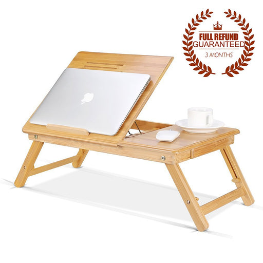 Ej. Life Bamboo Laptop Stand Table Folding Desk Adjustable Height Lap Desk Laptop Bed Tray with Drawer