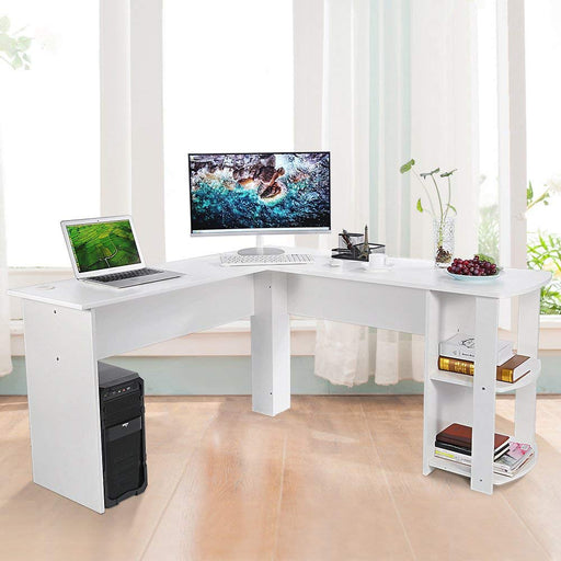 Ej. Life L-Shaped Office Computer Desk, Large Corner PC Table with 2 Shelves for Home and Office Use, Black Wood Grain