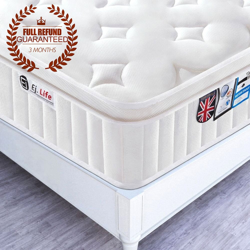 3FT Single 3D Breathable Fabric Pocket Sprung Mattress with Memory Foam - Multi-Functional 9-Zone Orthopaedic Mattress