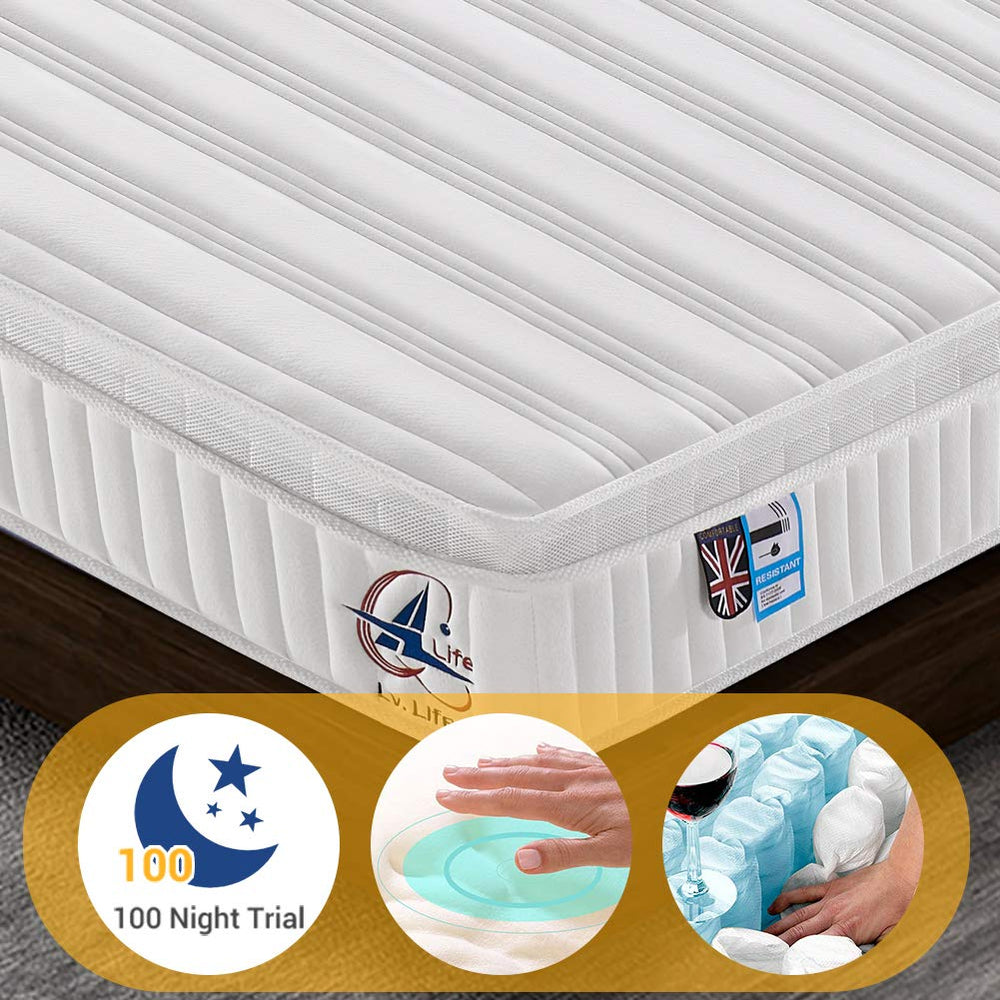 Ailiving Small Single Mattress, Nine Zone Pocket Sprung Mattress 2FT6 Double Memory Foam Mattress with 3D Breathable Fabric