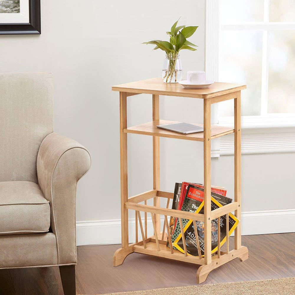 ADD ONE +1 2 Tier Triangle Bamboo End Table Sofa Side Table, Wooden Coffee Tea Table