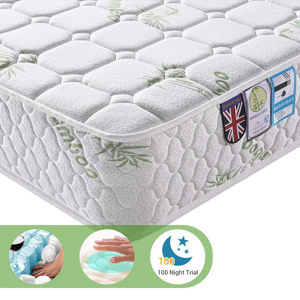 Lv. life Single Bamboo Fiber Mattress, 3FT Single Pocket Sprung and Memory Foam Mattress Pressure Relief with 9-Zone Support System - 100 Nights Trial