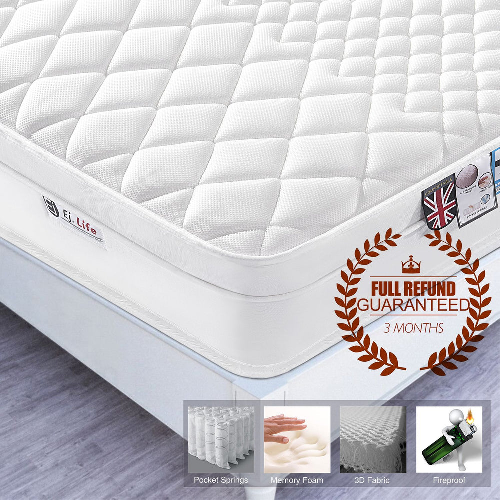 Ej. Life 3FT Single 3D Breathable Fabric Mattress with Pocket Springs and Memory Foam - 9-Zone Orthopaedic Mattress - 10.6-Inch - White