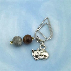 Gray Tabby Cat Dangle Clip ~ Inspireology Charms ~ Handmade Planner Accessories