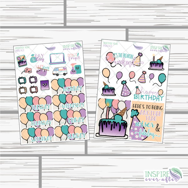 Another Year Mini Weekly Kit ~ Hand Drawn Kit ~ Planner Stickers