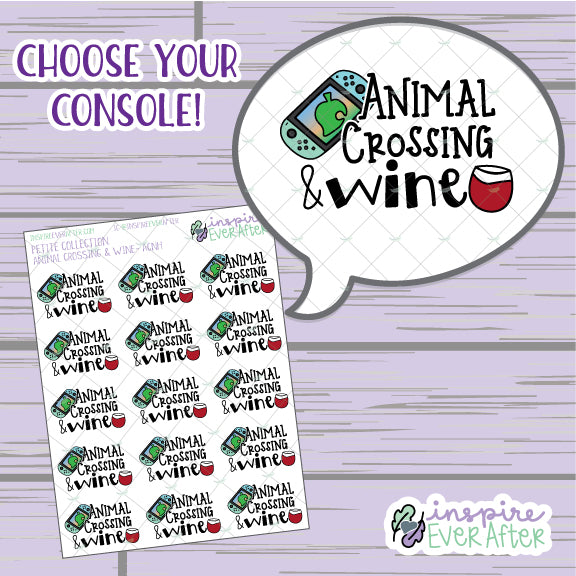 Crossin' Animals & Wine ~ Choose Your Console! ~ Hand Drawn Video Game Icon ~ Petite Collection ~ Planner Stickers