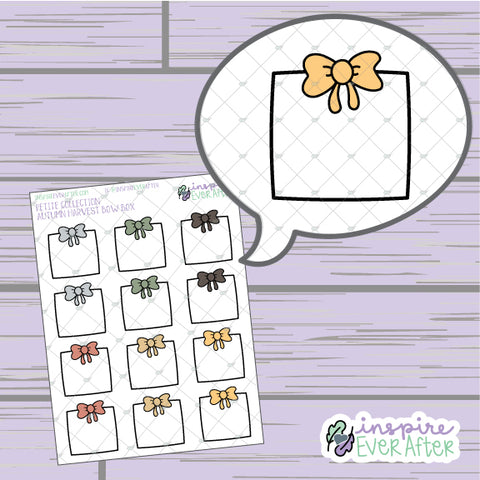 Autumn Harvest Bow Box ~ Hand Drawn Seasonal Functional ~ Petite Collection ~ Planner Stickers