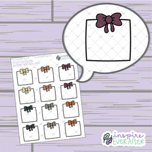 Autumn Hues Bow Box ~ Hand Drawn Seasonal Functional ~ Petite Collection ~ Planner Stickers