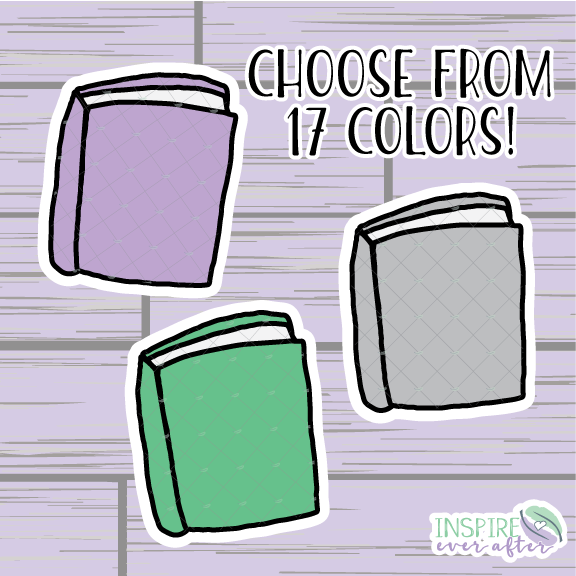 Book Die Cut ~ Choose Your Color! ~ Hand Drawn Planner Accessories