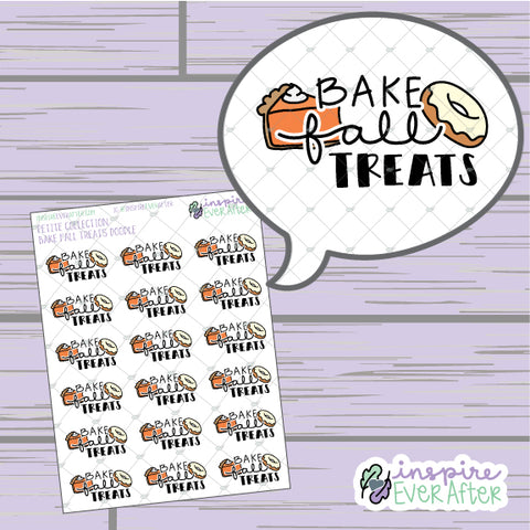 Bake Fall Treats Doodle ~ Hand Drawn Seasonal Fall Doodle ~ Petite Collection ~ Planner Stickers