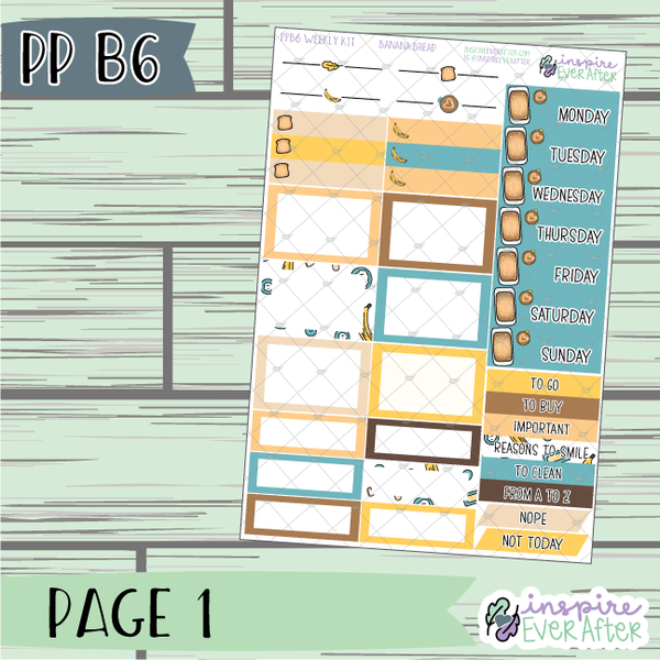 Banana Bread PPB6 Weekly Kit ~ Hand Drawn Foodie ~ Functional Planner Stickers