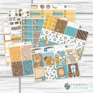 Banana Bread Weekly Kit ~ Hand Drawn Foodie Stickers ~ Planner Stickers