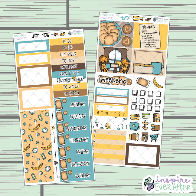 Banana Bread PPWeeks Weekly Kit ~ Hand Drawn Foodie Theme ~ Functional Planner Stickers