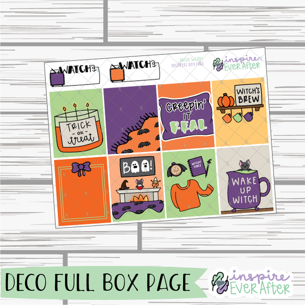 Basic Witch Weekly Kit ~ Hand Drawn Halloween ~ Holiday/ Seasonal Stickers ~ Planner Stickers