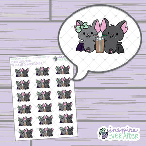 Bat Couple Sharing a Drink ~ Hand Drawn Character Doodle ~ Petite Collection ~ Planner Stickers