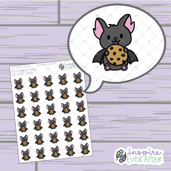 Bat Eatin' Cookies ~ Hand Drawn Foodie Animal Doodle ~ Petite Collection ~ Planner Stickers