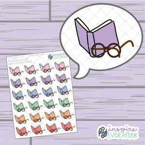 Book & Glasses Doodle ~ Hand Drawn Reading/ Self Care Icon ~ Petite Collection ~ Planner Stickers