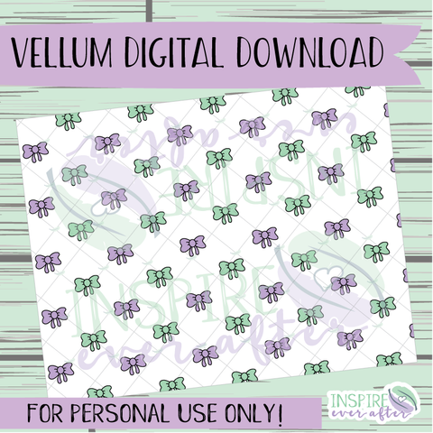 Bow Vellum ~ Digital Download ~ Hand Drawn Digitals