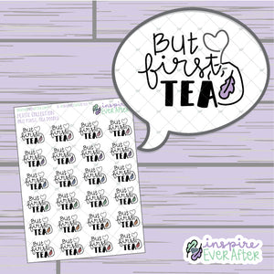 But First, Tea Doodle ~ Hand Drawn Beverage ~ Petite Collection ~ Planner Stickers