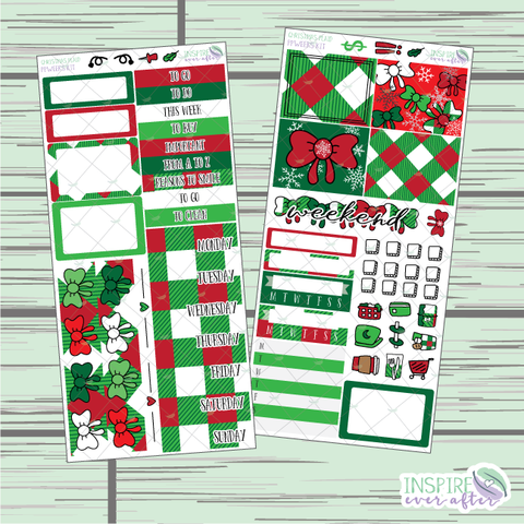 Christmas Plaid PPWeeks Weekly Kit ~ Hand Drawn Functional Planner Stickers