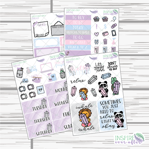 Calm Vibes Only Mini Weekly Kit ~ Hand Drawn Kit ~ Planner Stickers