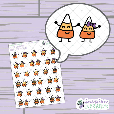 Candy Corn Friends ~ Hand Drawn Seasonal Fall Doodle ~ Petite Collection ~ Planner Stickers