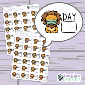 Cautious Zion the Lion Day Tracker ~ Neutral OR Colorful ~ Hand Drawn Character Icon ~ Petite Collection ~ Planner Stickers