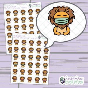 Cautious Zion the Lion ~ Neutral OR Colorful ~ Hand Drawn Character Icon ~ Petite Collection ~ Planner Stickers