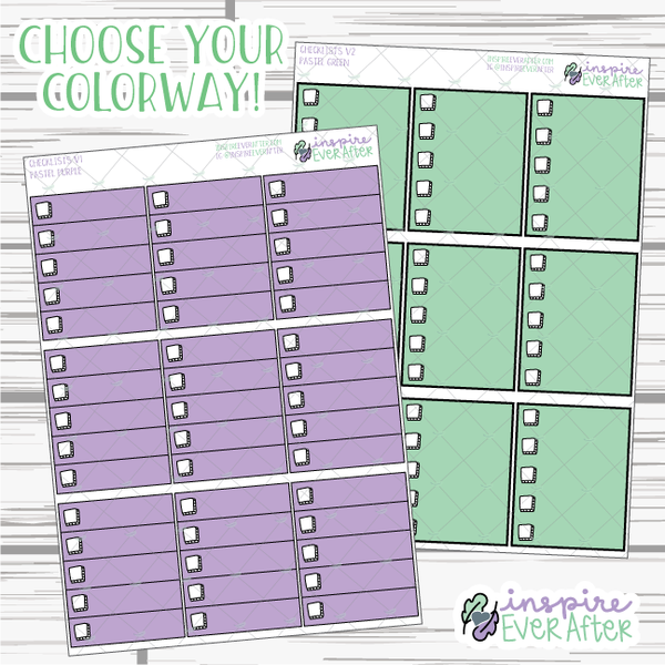 Checklists ~ Choose your Style AND Colorway! ~ Hand Drawn Functional Collection ~ Planner Stickers