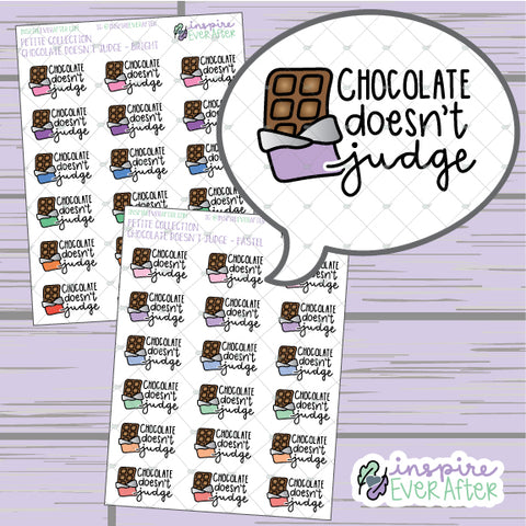 Chocolate Doesn't Judge ~ Pastel OR Bright ~ Hand Drawn Foodie Doodle ~ Petite Collection ~ Planner Stickers