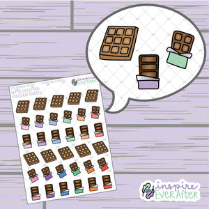 Chocolate Bar Doodles ~ Hand Drawn Foodie Doodle ~ Petite Collection ~ Planner Stickers