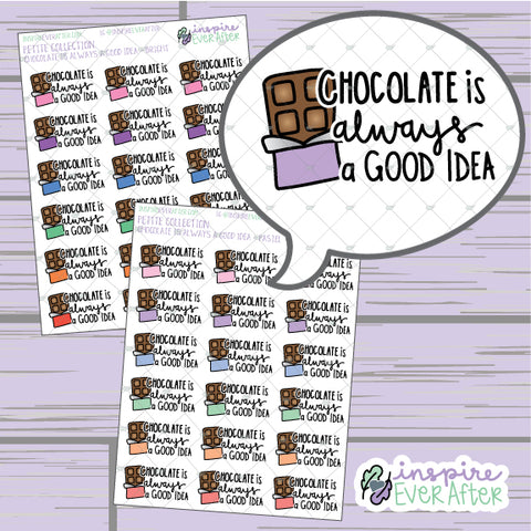 Chocolate Is Always A Good Idea ~ Pastel OR Bright ~ Hand Drawn Foodie Doodle ~ Petite Collection ~ Planner Stickers