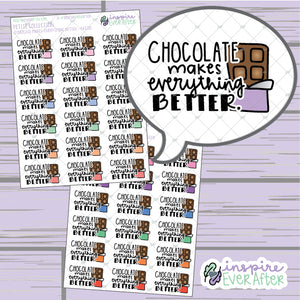 Chocolate Makes Everything Better ~ Pastel OR Bright ~ Hand Drawn Foodie Doodle ~ Petite Collection ~ Planner Stickers