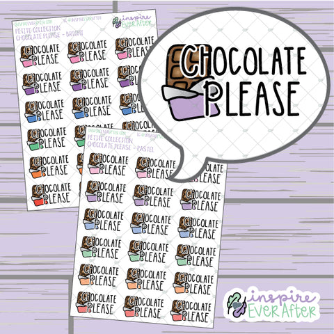 Chocolate Please ~ Pastel OR Bright ~ Hand Drawn Foodie Doodle ~ Petite Collection ~ Planner Stickers