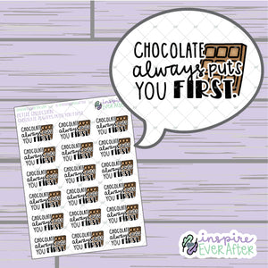 Chocolate Always Puts You First ~ Hand Drawn Foodie Doodle ~ Petite Collection ~ Planner Stickers