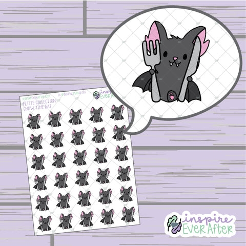 Chow Time Bat ~ Hand Drawn Foodie Character Doodle ~ Petite Collection ~ Planner Stickers