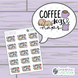 Coffee, Dogs & Naps ~ Hand Drawn Pet Icons ~ Petite Collection ~ Planner Stickers