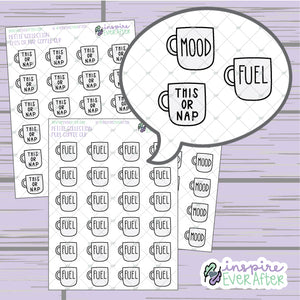 Coffee Mug ~ Mood, Fuel, OR This or Nap ~ Hand Drawn Beverage Doodle ~ Petite Collection ~ Planner Stickers
