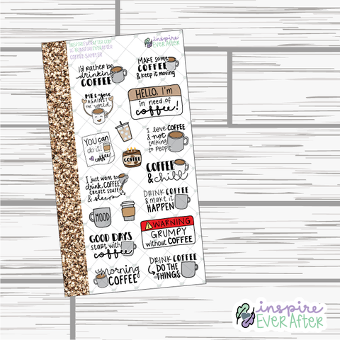 Coffee Sampler ~ Hand Drawn Beverage Stickers ~ Planner Stickers
