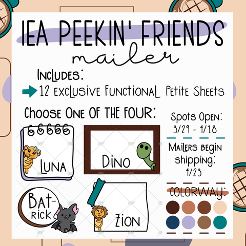 April Peekin' Friends Sticker Mailer ~ Choose Your Character! ~ NO Coupons or Reward Codes Allowed ~ Please Read Description for Full Details!!