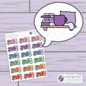 Comfy Reading Shelf ~ Hand Drawn Shelves ~ Petite Collection ~ Planner Stickers