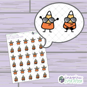 Cool Shades Candy Corn ~ Hand Drawn Seasonal Fall Doodle ~ Petite Collection ~ Planner Stickers