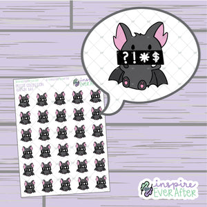 Cursin' Bat ~ Hand Drawn Sassy Animal Doodle ~ Petite Collection ~ Planner Stickers