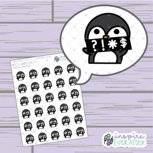 Cursin' Penguin ~ Hand Drawn Sassy Animal Doodle ~ Petite Collection ~ Planner Stickers