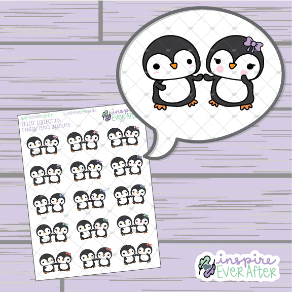Dancin' Penguin Couple ~ Hand Drawn Animal Couple Doodle ~ Petite Collection ~ Planner Stickers