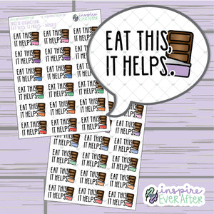 Eat This, It Helps ~ Pastel OR Bright ~ Hand Drawn Magical Chocolate Doodle ~ Petite Collection ~ Planner Stickers